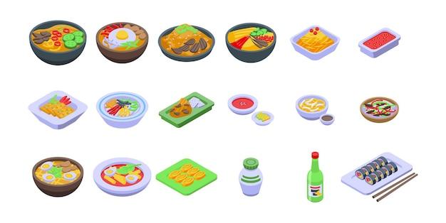 Korean cuisine icons set. isometric set of korean cuisine vector icons for web design isolated on white background Premium Vector