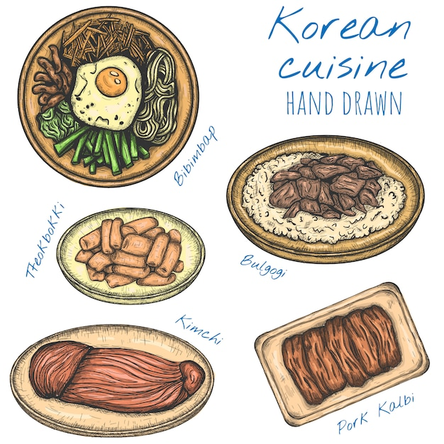 Korean cuisine various food hand drawn illustrations, isolated sketched set. Premium Vector