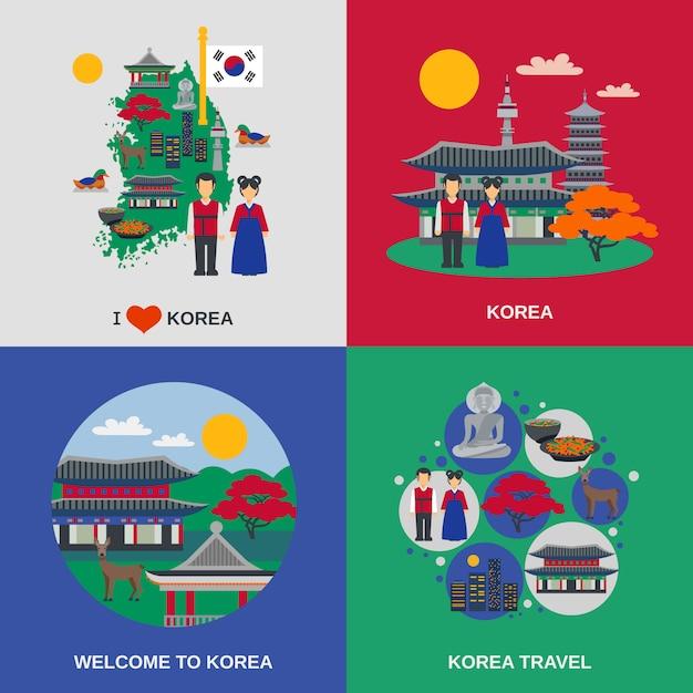 韓国文化フラット4アイコンスクエア 無料ベクター