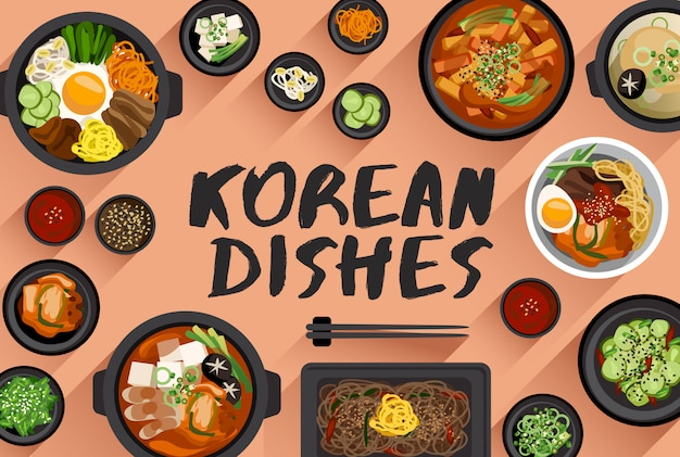 Korean food  food illustration in top view  vector illustration Premium Vector