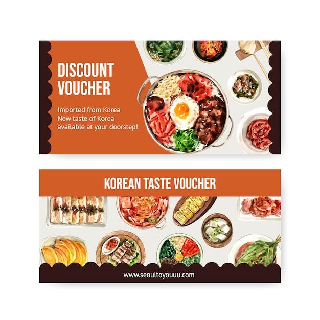 Korean food voucher design with egg roll, ramyeon, bibimbap watercolor illustration. Premium Vector