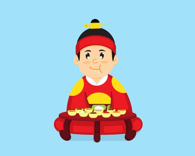 The korean king is sitting to eat korean food. Premium Vector