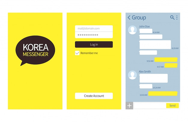 Korean messenger. kakao talk interface with chat boxes, contact list and icons vector message template Premium Vector