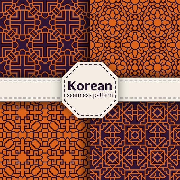 Набор бесшовные шаблоны вектора корейской или китайской традиции. коллекция иллюстраций искусства азиатского орнамента Бесплатные векторы