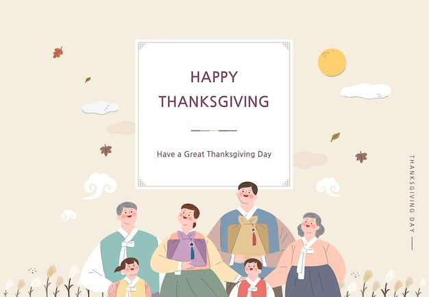 Korean thanksgiving day shopping event pop-up illustration. Premium Vector