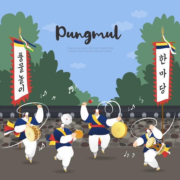 Korean traditional music dance pungmul nori Premium Vector