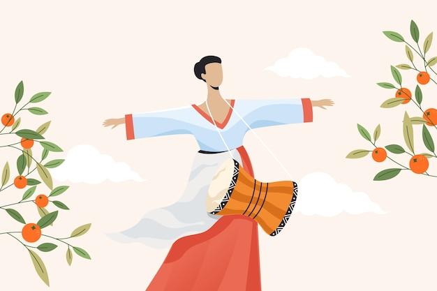 Korean women wearing hanbok for celebrating chuseok. flat illustration. Premium Vector