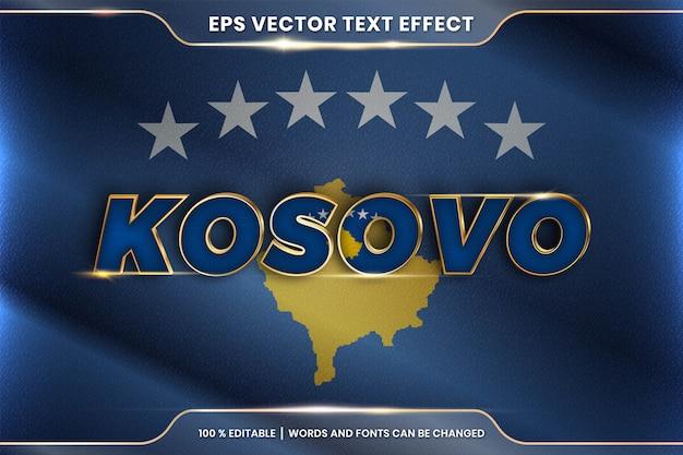 Косово с национальным флагом страны, стиль редактируемого текстового эффекта с концепцией градиентного золотого цвета Premium векторы