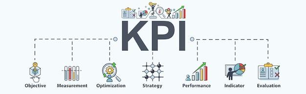 Kpi banner web icon for business. Premium Vector
