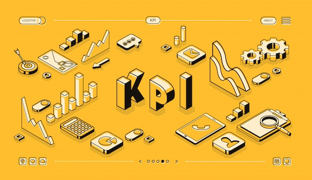 KPI business performance strategy and analysis illustration in thine line isometric design Free Vector