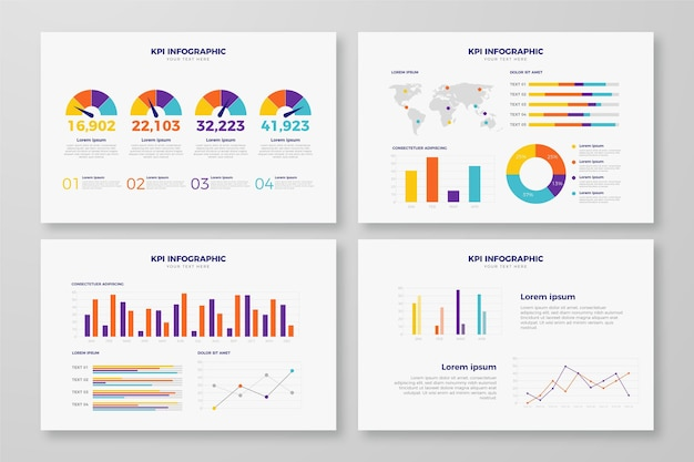 Kpi concept infographic design Free Vector