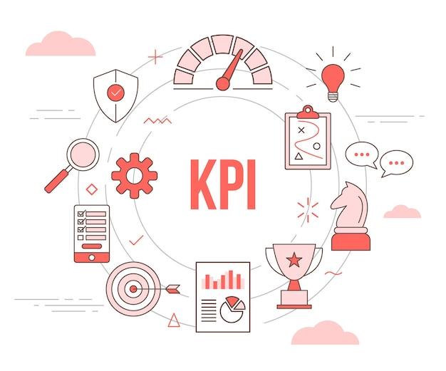 Kpi 개념 속도계 전략 체스 계획 차트 트로피 방패 보호 아이콘으로 현대 오렌지 색상 스타일과 원형 라운드 템플릿 설정 프리미엄 벡터