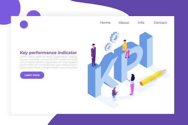 Kpi, key performance indicator, business consulting isometric concept. Premium Vector