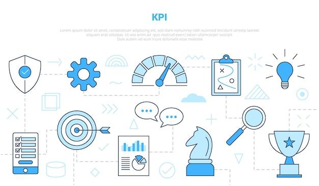 현대 블루 컬러 벡터 일러스트와 함께 아이콘 선 스타일 설정된 템플릿으로 Kpi 핵심 성과 지표 개념 프리미엄 벡터