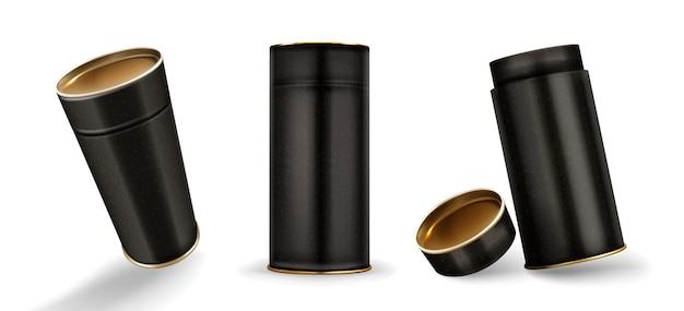 Kraft tube boxes mockup, closed and open cardboard cylinders of speckled black color Free Vector