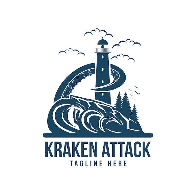 Kraken attack light house vector illustration Premium Vector