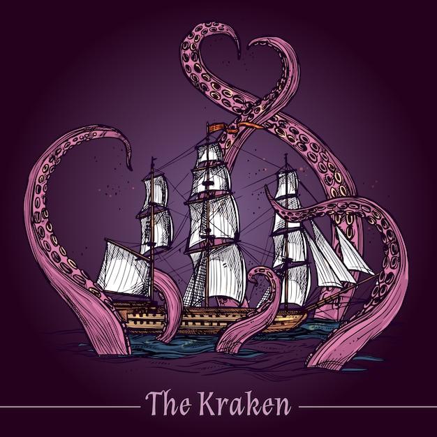 Kraken sketch illustration Free Vector