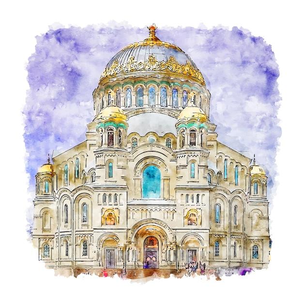 Kronstadt naval cathedral watercolor sketch hand drawn illustration Premium Vector
