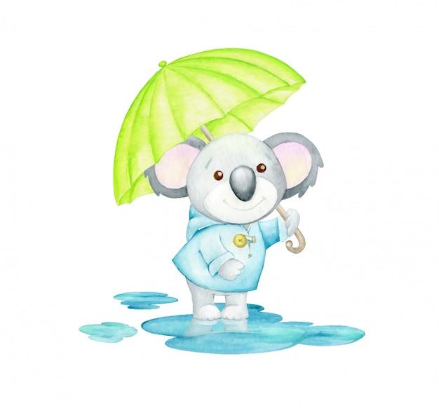 傘をさした青いレインコートを着たクアラは、水たまりに立っています。水彩のコンセプトです。秋をテーマにした漫画のスタイルのかわいい熱帯動物。 Premiumベクター