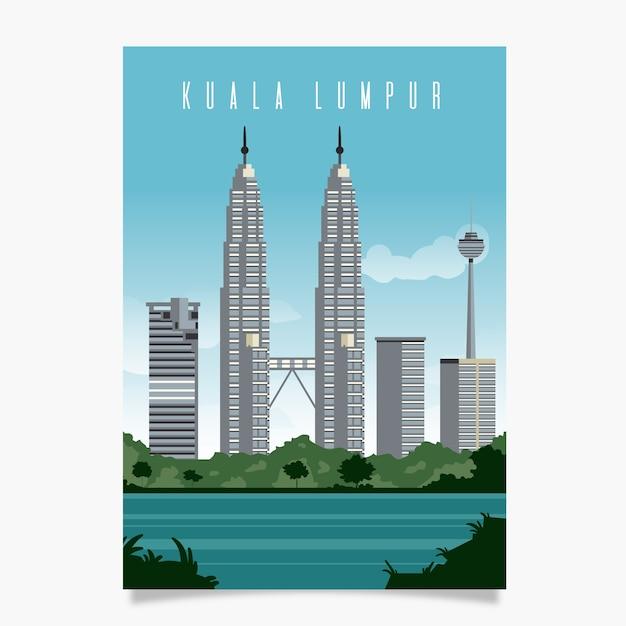 Kuala lumpur promotional poster template Free Vector