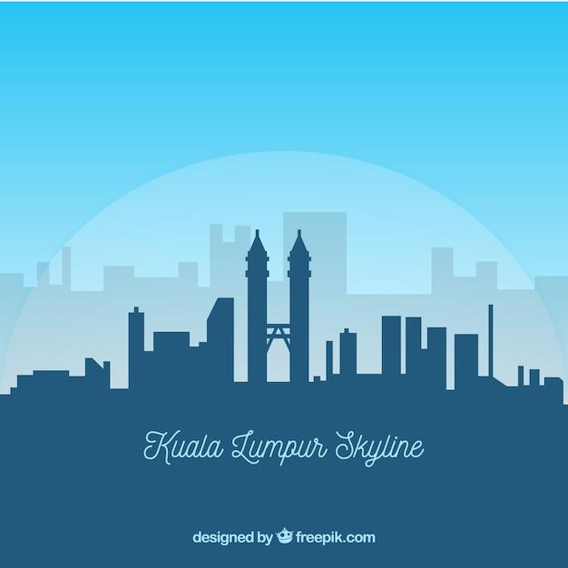 Kuala lumpur skyline silhouette Free Vector