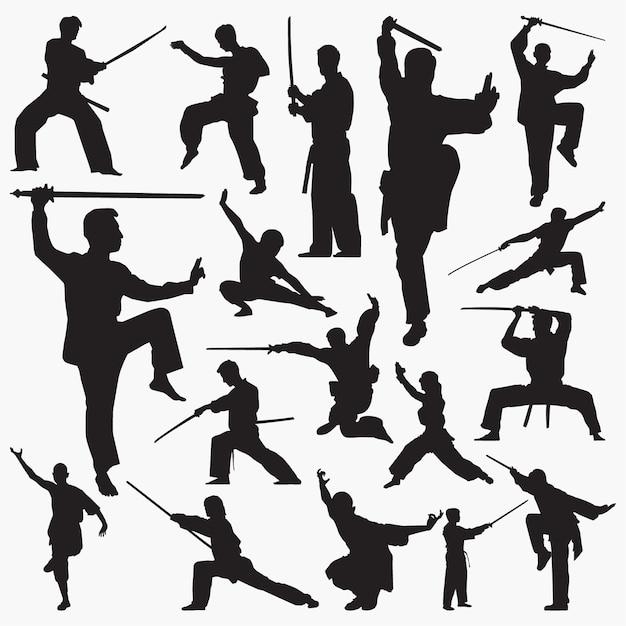Kung fu silhouettes Premium Vector