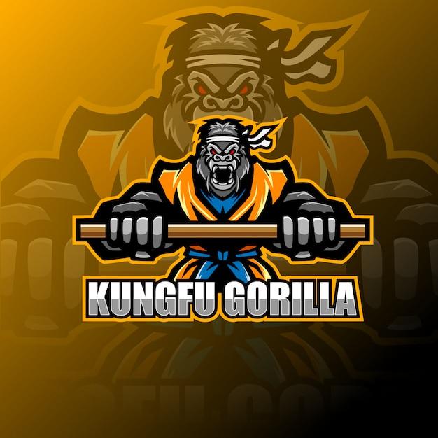Kungfu gorilla mascot logo Premium Vector