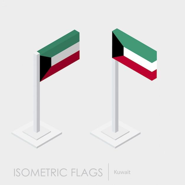 Kuwait flag 3d isometric style Premium Vector
