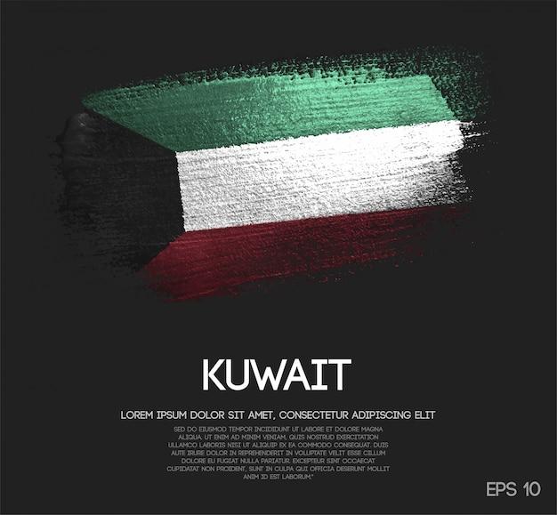 Kuwait flag made of glitter sparkle brush paint Premium Vector