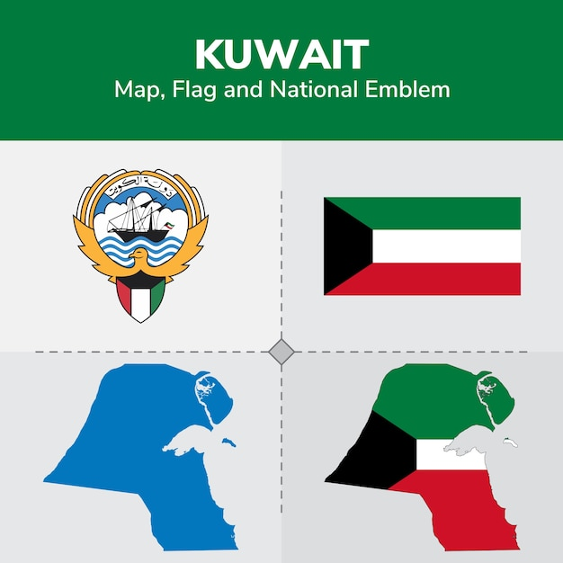 Kuwait map, flag and national emblem Premium Vector