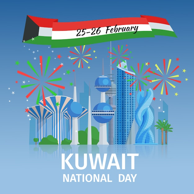 Kuwait national day with cityscape of capital famous buildings and decorative fireworks  vector illustration Free Vector