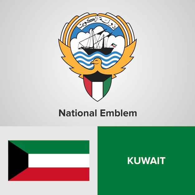 Kuwait  national emblem and flag Premium Vector