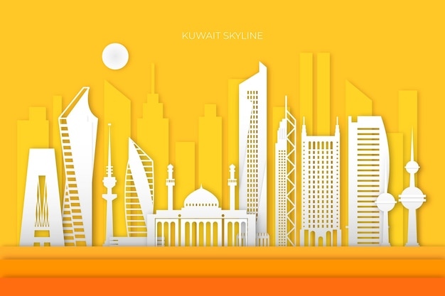Kuwait skyline in paper style with yellow background Free Vector
