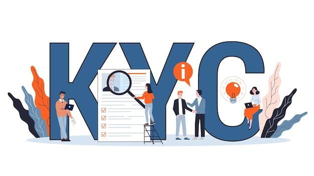Kyc или знайте свою концепцию клиента. идея идентификации бизнеса и финансовой безопасности. киберпреступность. иллюстрация в мультяшном стиле Premium векторы