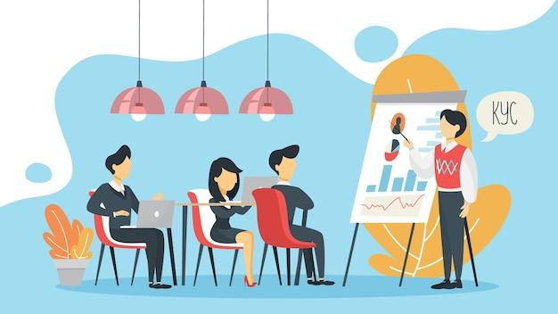 Kyc или знайте свою концепцию клиента. идея идентификации бизнеса и финансовой безопасности. человек делает презентацию. киберпреступность. изолированная плоская иллюстрация Premium векторы
