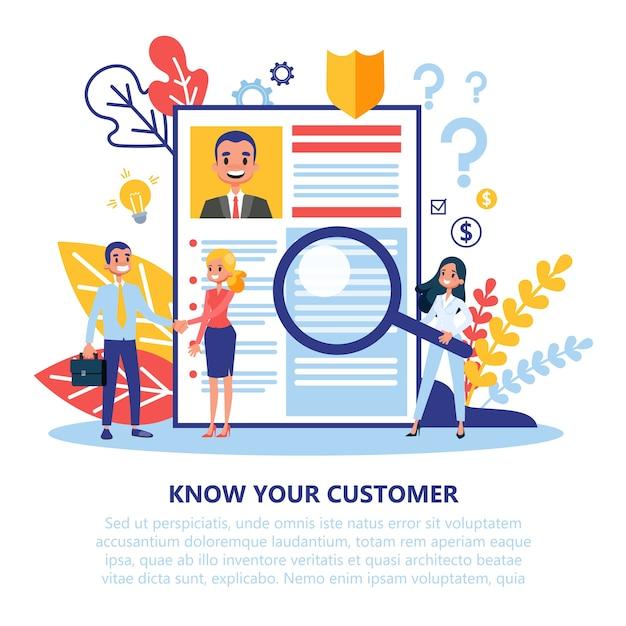 Kyc или знайте свою концепцию клиента. идея бизнеса Premium векторы