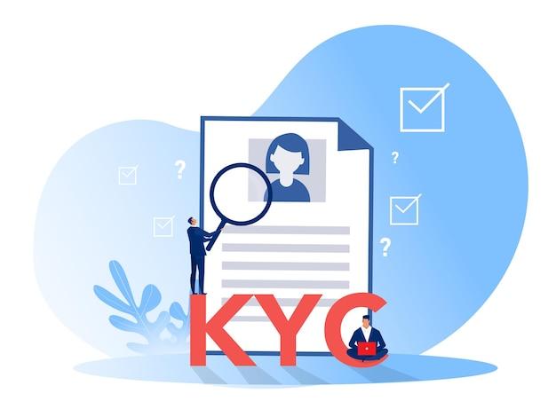 Kyc или знайте своего клиента с бизнесом, проверяя идентичность концепции своего клиента у будущих партнеров через увеличительное стекло Premium векторы