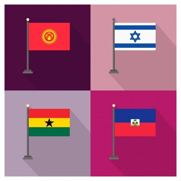 Kirghizistan israele ghana haiti bandiere Vettore gratuito