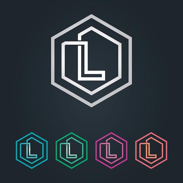 Lヘキサゴンロゴ Premiumベクター