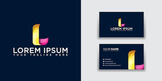 Абстрактная буква l логотип с шаблоном визитной карточки Premium векторы