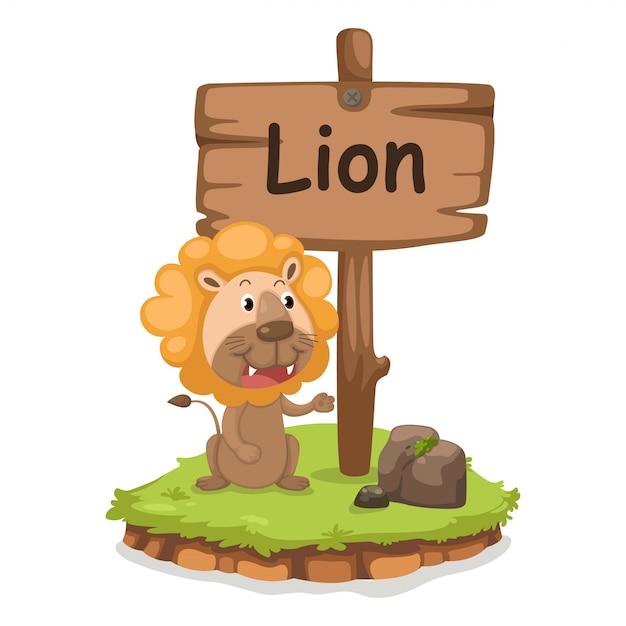 ライオンのイラストのための動物のアルファベット文字l Premiumベクター