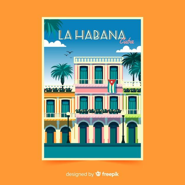 La habana retro promotional flyer Free Vector