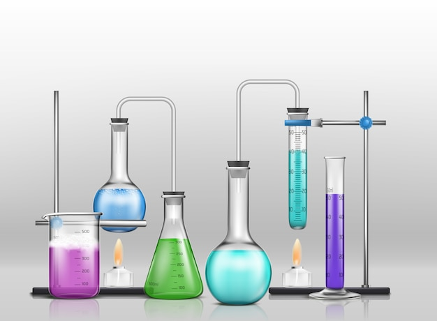 Lab graduated glassware filled with different color reagents, lab flasks connected with test tubes Free Vector