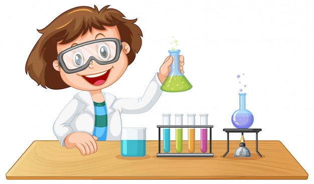 A lab kid character Free Vector