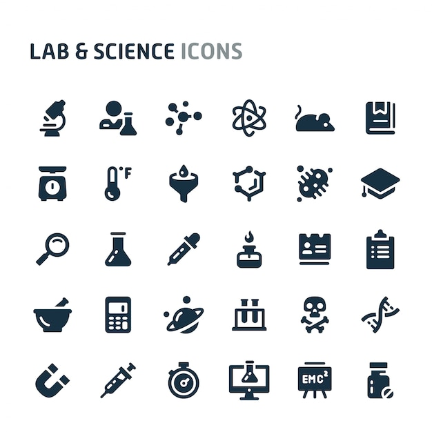 Lab & science icon set. fillio black icon series. Premium Vector