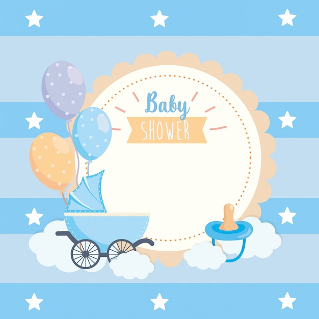 Label of balloons and pacifier with carriage decoration Free Vector