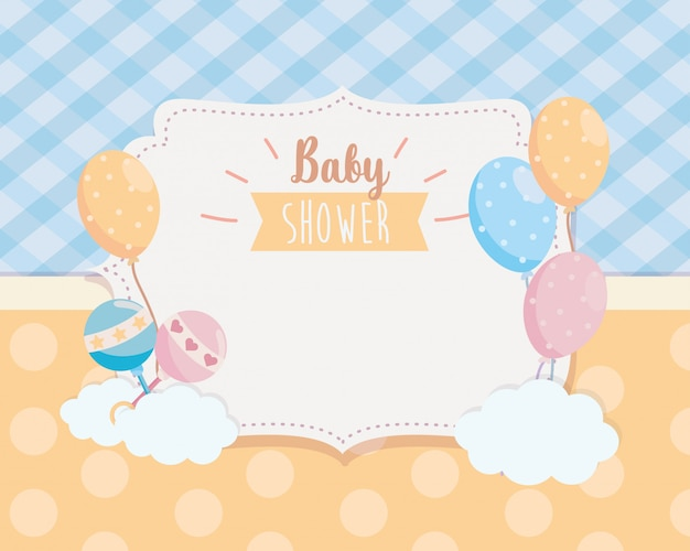 Label of balloons with rattles and clouds decoration Free Vector