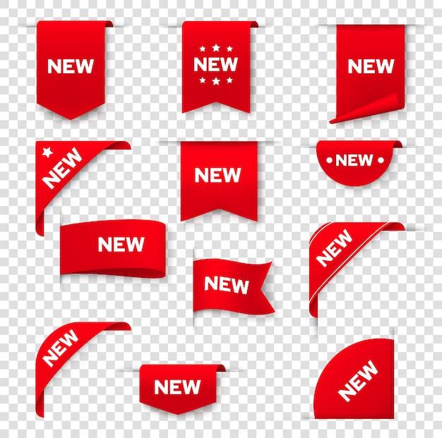 웹 페이지, 새 태그 배지, 아이콘 레이블 배너. 제품 프로모션 판매를위한 빨간 스티커 표지판, 코너 라벨 배너 및 리본, 새로운 매장 및 온라인 상점 특별 가격 제공 프리미엄 벡터