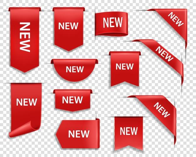 레이블 배너, 웹 페이지 용 새 태그 배지 및 아이콘 프리미엄 벡터