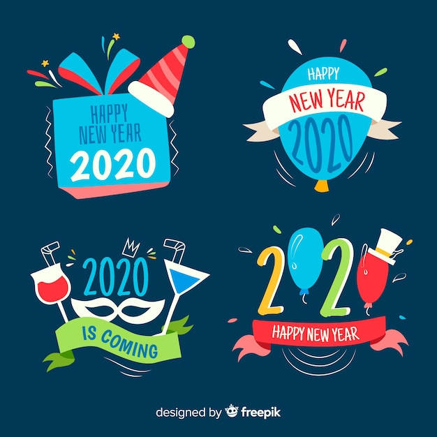 Label collection of hand drawn new year Free Vector